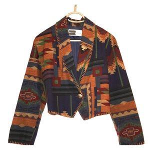 Vintage Aztec Crop Blazer